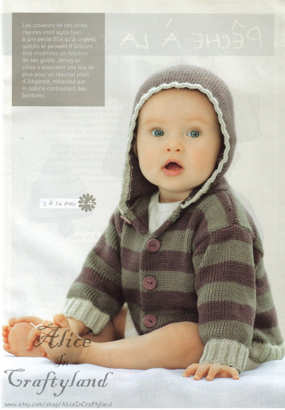 ENGLISH Baby Knitting Pattern Hooded Striped by AliceInCraftyland