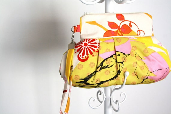 Yellow Bird Floral Sketchbook Wristlet Handbag Purse