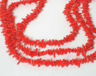 """SALE Coral Cuppolini red tips 4"""" strand"""