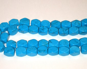 SALE turquoise chalk faceted blue large 4 beads