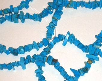 """SALE beads turquoise blue large 8-10mm nuggets chips - 4"""" strand"""
