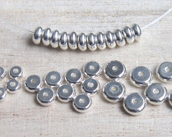 SALE beads jewelry supplies heishe silver plated 5mm heishe - set of 25