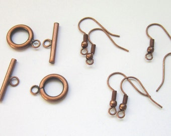 SALE copper plated earwiire toggle set