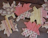 Fall Leaves Appliques Vintage Feedsack Cutter Quilt Fabric Autumn Prim Shabby Embellishments itsyourcountry