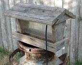 Barnwood Bird Feeder Vintage Weathered Woodland Rustic Garden Decor