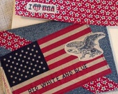 American Flag Card Patriotic Blue Jean Denim Greeting Card Everyday Blank Note Card Upcycled Fabric Collage Stationery