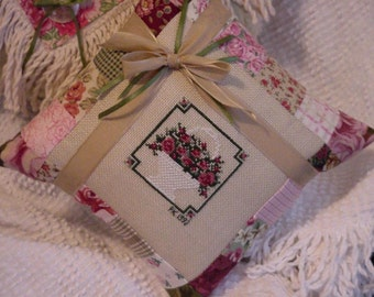 Cross Stitch Pillow Basket of Roses Patchwork Chic Country Shabby Cottage Decor Pillow itsyourcountry