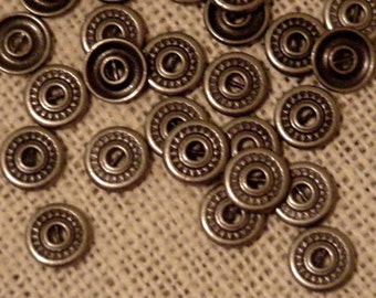 Metal Shirt Buttons, Vintage Antiqued Silver Look 2 Hole Western Cowboy Tribal Steampunk Craft Button Embellishment Findings itsyourcountry