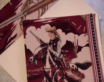 Cowboy Greeting Card Sheriff in Town Country Western Fabric Everyday All Occasion Blank Note Card itsyourcountry