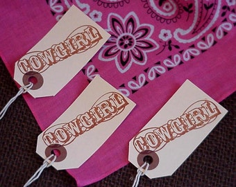 Cowgirl Gift Tags, Hand Stamped Sepia Brown Western Everyday All Occasion Hang Tags Tie Ons set of 8 itsyourcountry