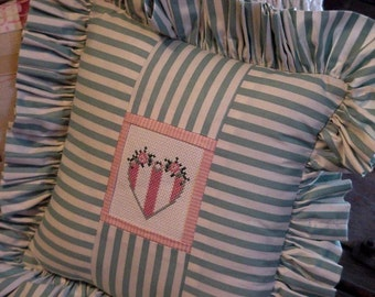 Country Heart Pillow, Cross Stitch Cottage Chic Porch Decor Throw Pillow, Pink Sage Green Pillow, Valentine Gift itsyourcountry