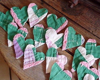Tattered Heart Appliques, Upcycled Vintage Feedsack Cutter Quilt Shabby Prim Embellishments Craft Supply Valentine Cardmaking itsyourcountry