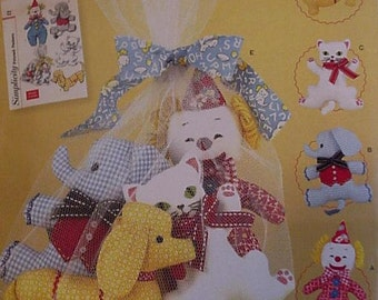 Simplicity 2945 Pattern Stuffed Animal Cloth Toys Dog Cat Elephant Clown Net Toy Bag New Uncut itsyourcountry