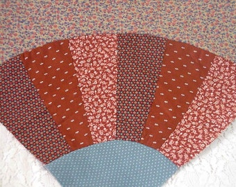 "Grandmothers Fan Quilt Block, Vintage Patchwork Calico Fan Orphan Quilting Square, Rust Teal Brown, 12.5"" x 12.5"" itsyourcountry"