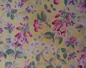 Yellow Floral Fabric Vintage Sheet Cottage Chic Cotton Fat Quarter Piece 18  x 22 inch Flowers Berries itsyourcountry