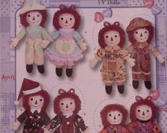 Raggedy Ann Andy Pattern 15 inch Cloth Doll Clothes Simplicity 3945 New Uncut OOP itsyourcountry