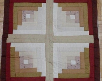 Quilted Log Cabin Block, Vintage Neutral Woodland Machine Patchwork Quilt Piece, Craft Supply itsyourcountry