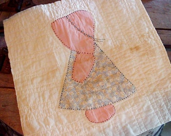 1930s Sunbonnet Sue Quilt Block, Antique All by Hand Appliqued Quilted Embroidered Shabby Primitive Aged Patina Craft Supply itsyourcountry