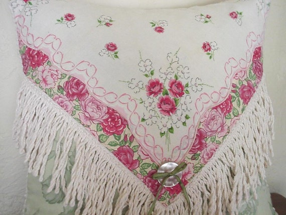 Vintage Hankie Pillow Shabby Cottage Chic Pink Rose Handkerchief Chenille  Home Decor Pillow Upcycled itsyourcountry