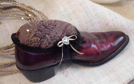Cowboy Boot Pincushion Western Cowgirl Upcycled Cowgirl Boot Sewing Pin Cushion Pin Keep Original OOAK itsyourcountry