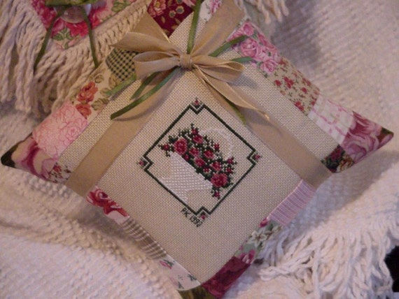 Cross Stitch Pillow, Basket of Roses, Patchwork Country Chic Shabby Cottage Chic Decor Pillow itsyourcountry
