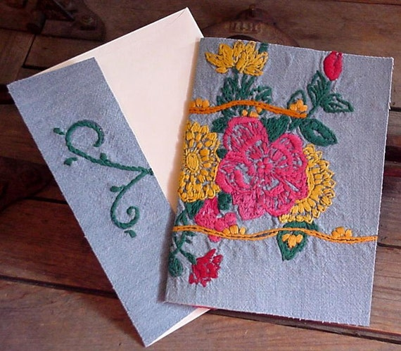 Floral Embroidered Card Everyday Greeting Note Card Upcycled Vintage Fabric Stationery itsyourcountry