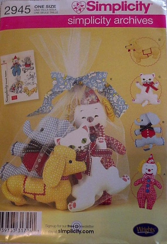 Simplicity 2945 Pattern, Stuffed Animal Cloth Toys Dog Cat Elephant Clown Net Toy Bag Pattern, New Uncut itsyourcountry