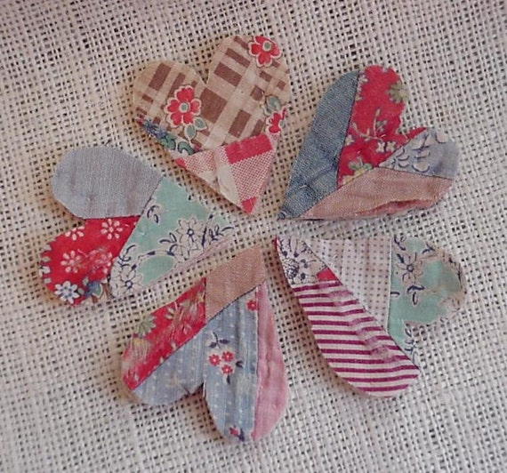 Vintage Prim Heart Appliques Embellishments from Upcycled Feed Sack Cutter Quilt 4 Crafting