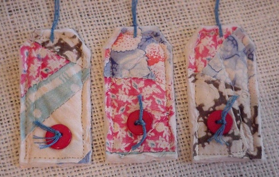 Vintage Patchwork Tags Cottage Chic Quilted Gift Tags Prim Feedsack Fabric Cutter Quilt Hang Tag Tie Ons itsyourcountry