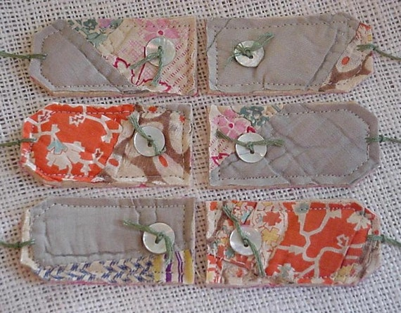 Antique Quilt Tags Shabby Rustic Hand Quilted Autumn Sage Green Gift Tags Everyday All Occasion Hang Tags itsyourcountry