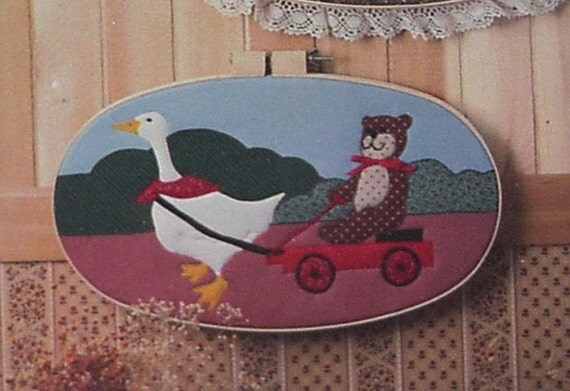 Hoop Art Applique Pattern Chums Goose Teddy  Bear Vintage Machine Applique Bette Ashley Designs Quilt Craft Pattern itsyourcountry