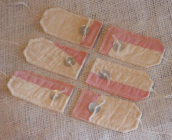 Vintage Patchwork Tags Sweet Shabby Prim Fabric Cutter Quilt Everyday All Occasion Gift Wrap Hang Tags Tie Ons itsyourcountry