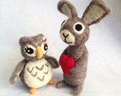 Adorawools Owl and Bunny Bride and Groom - Wedding Cake Toppers - Gifts for the one you love
