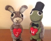 The Tortuous and the Hare - Adorable Bunny Rabbit  and Turtle Bride and Groom Wedding Cake Topper - Adorawools