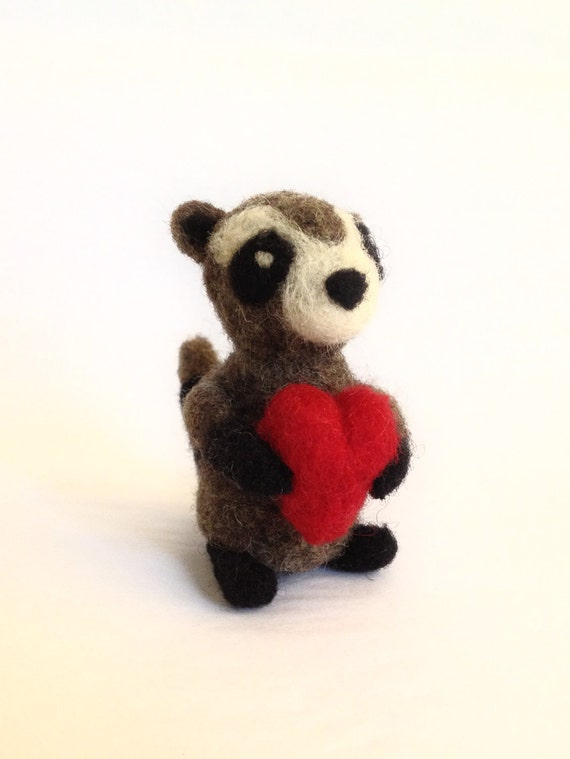 AdoraWools - Micro Raccoon with Red Heart