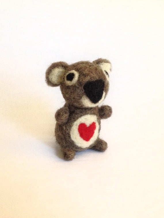 Koala Bear with Red Heart - Needle Felted Love - Perfect gift for your Soul Mate