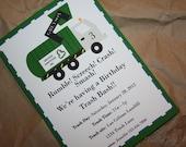 Garbage Trash Truck Birthday Party Invitation Printable