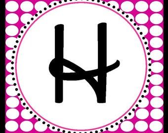 Hot Pink & Black Polka Dot Party Custom Party Banner