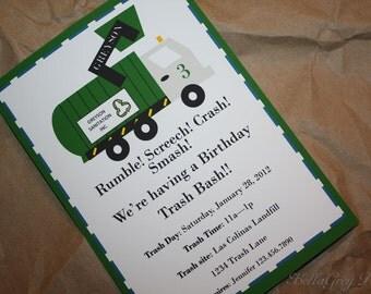Garbage Trash Truck Birthday Party Custom Invitations