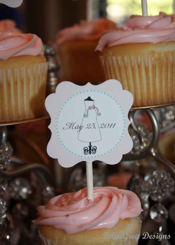 Glam Baby Shower Sip and See Gender Reveal Baby Sprinkle Party Cupcake Circle Printable Cupcake Topper