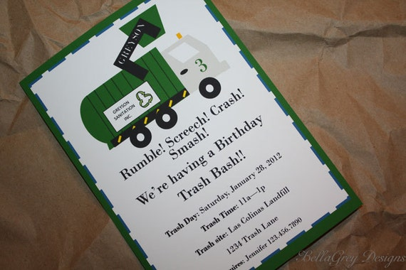 Garbage Trash Truck Birthday Party Invitation Printable