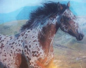 Western art original spotted galloping  horse detailed drawing painting