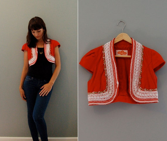 SALE mexican bolero jacket - red summer block party - festive lace // xs small