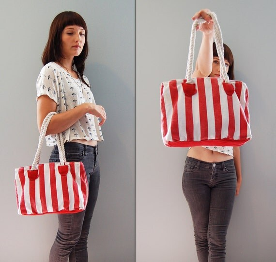 nautical tote SALE - red and white striped sailor canvas tote bag - matching wallet