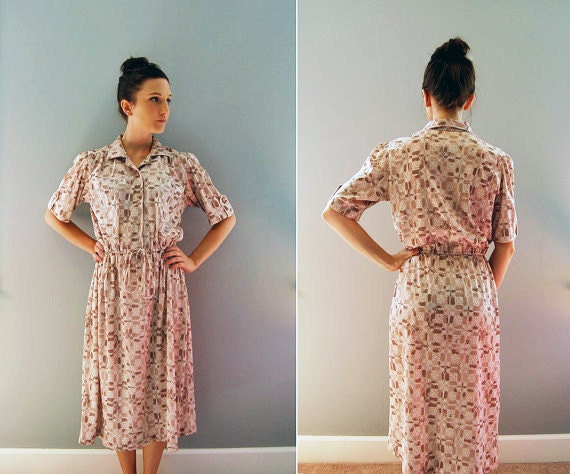 vintage day dress - ecru and brown cocoa // medium