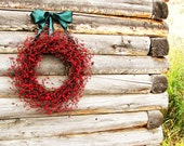Summer Wreath-Summer Door Wreath-4th July Wreath-Holiday Wreath-RUSTIC RED Wreath-Red Berry Wreath-Rustic Home Decor-Choose Scent & Ribbon