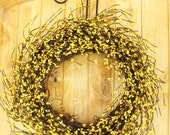 LUSCIOUS LEMON-Yellow Berry Wreath-Summer Wreath- Fall Door Wreath-Rustic Home Decor-Iced Lemon Danish SCENT or Pick Scent