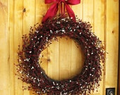 PRIMITIVE CRANBERRY Red & Antique White LARGE Wreath-Outdoor Grapevine Wreath-Holiday Door Wreath-Scented Spiced Cran-Apple-Choose Scent