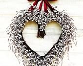 Valentines Wreath-White Heart Wedding Wreath-Wedding Wreath Decor-Heart Wreath-BURGUNDY & WHITE Heart Wreath-Woodland Wedding-Custom Made