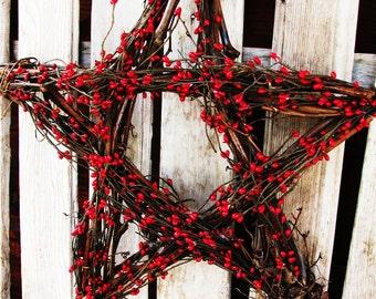 4th of July Decor-Summer Home Decor-Holiday Decor-Red Berry Star-Wall Hanging-Summer Decor-Summer Door Decor-Primitive Patriotic Decor-